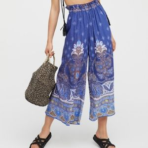 Free People Gold Dust Printed Wide Leg Pants